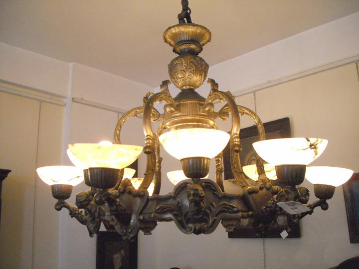 lampadario in rame : Lampadario In Rame : Lampadario in rame brunito con coppe in alabastro